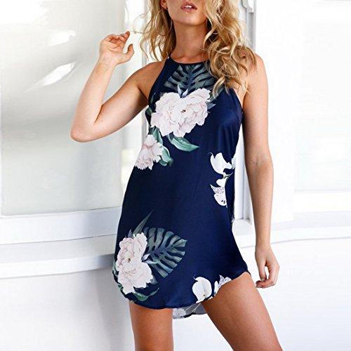 Bonboho Dress Mini Dark Beach Summer Vintage Women Printed Boho Blue Sleeveless Dresses Short vnvzr