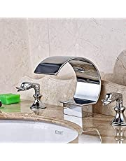 Faucet All Copper Household Faucet Luxury Curved Spout Top Quality Bathroom Waterfall Basin Faucet Tub Tap