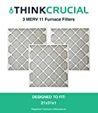 3 Replacements for 21x23x1 MERV 11 Allergen Air Furnace & Air Conditioner Filter, Pleated, by Think Crucial