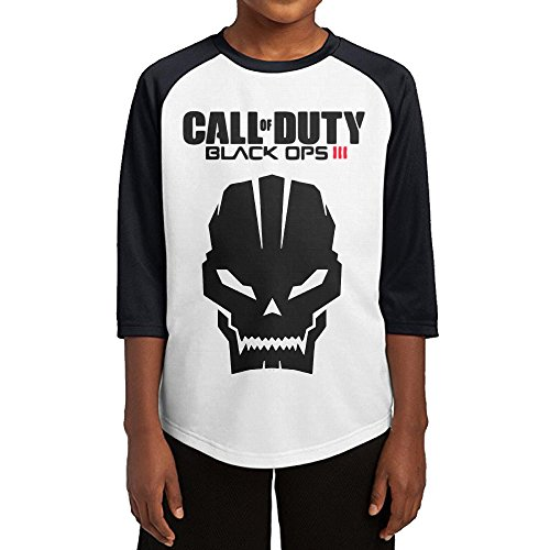 Price comparison product image GUYT Youth Boys Call Duty Video Game Skull Raglan Baseball T Shirt Black Size S