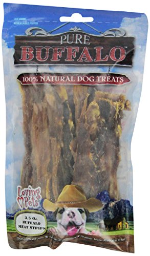 Loving Pets Pure Buffalo Jerky Strips Dog Treat, 3-1/2 -Ounce Pet Buffalo Jerky