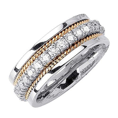 Braided Diamond Wedding Band (1.00ct TDW White Diamonds 18K Gold Braided Women's Wedding Band (G-H, SI1-SI2) (8.5mm) Size-8c4)