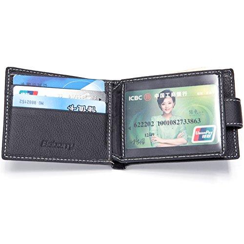 Baborry-Herren Echtleder Brieftasche CRotit/ID Karte Halter Mit Münztasche Schwarz