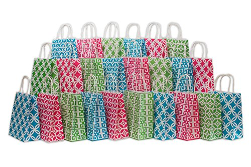Assorted bright color Kraft paper gift bags, medium, Bulk set of 24 bags, 8
