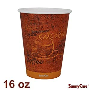 Disposable 16-oz Single Hot Coffee Paper Cups (Case of 1000)