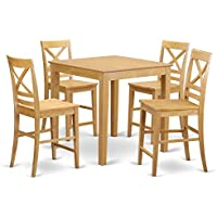 East West Furniture PBQU5-OAK-W 5 Piece Counter Height Table and 4 Stool Set