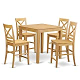 East West Furniture PBQU5-OAK-W 5 PC Counter Height Dining Set – Counter Height Table and 4 Counter Height Stool. Review