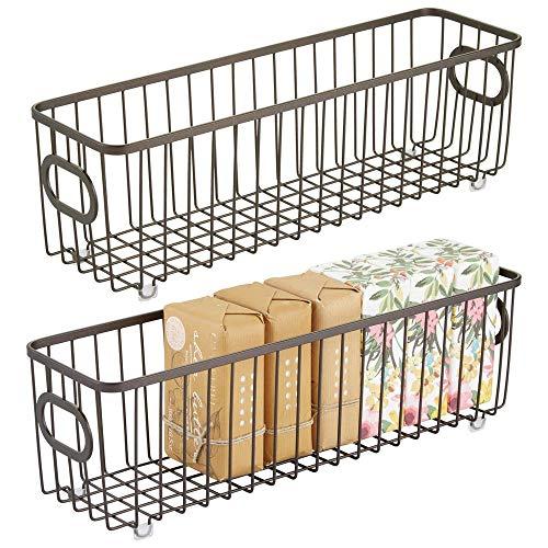 mDesign Metal Bathroom Storage Organizer Basket Bin - Farmhouse Wire Grid Design - for Cabinets, Shelves, Closets, Vanity Countertops, Bedrooms, Under Sinks - Long, 2 Pack - Bronze ()