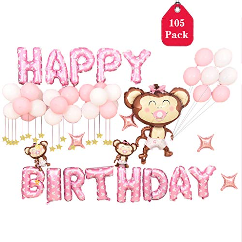Pink Birthday Party Balloon Set, Amycute Pacifier Monkey Foil Balloons, Included Balloon Pump, Transparent Glue, Ribbon for Girls Boys Kids Baby Birthday Party Supplies -