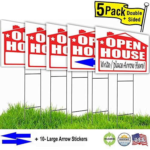 Arrow Sign Kit - Visibility Signage Open House Lawn Sign Kit with Giant Arrow Stickers (5)
