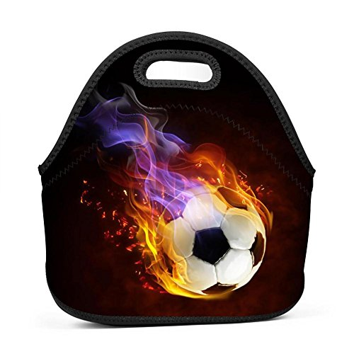 Yshoqq Fire Football Shooting Lunch Tote Bag Neoprene Insulated Cooler Lunch Bag Outdoor Picnic Travel Lunchbox Waterproof Handbags for Women Men Kids Girls Boys