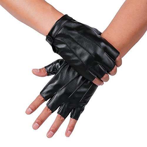 JISEN Men PU Leather Punk Half Finger Snap Performance Gloves Black -