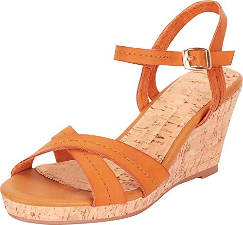 - Harper Shoes Women's Platform Cork Wedge Sandal Crisscross Strappy Chunky, Tan, 9