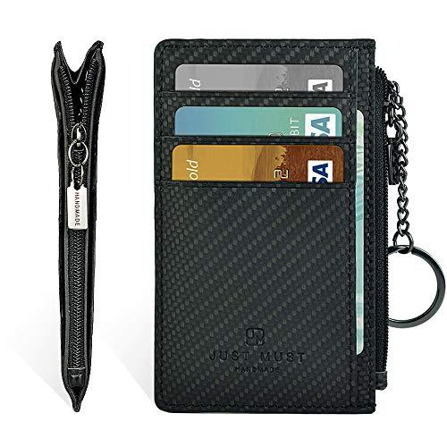 (Slim Minimalist Wallet, Zipper Wallet, Front Pocket Credit Card Holder Leather Wallet with Key Ring (Carbon Black))