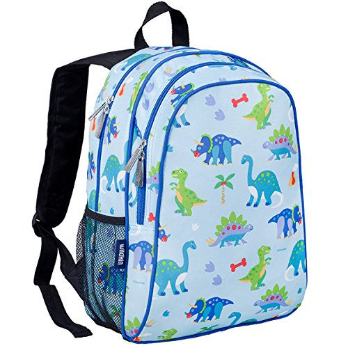 Wildkin 15 Inch Specialty Backpack, Durable Backpack with Padded Straps, Moisture-Resistant Lining, and Mesh Side Pocket, Perfect for School or Travel, Olive Kids Design – Dinosaur (Land Design)