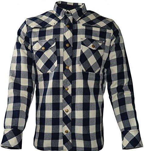 King kerosin – Camisa Air Kevlar de cuadros para motero, color azul oscuro y crema: Amazon.es: Coche y moto