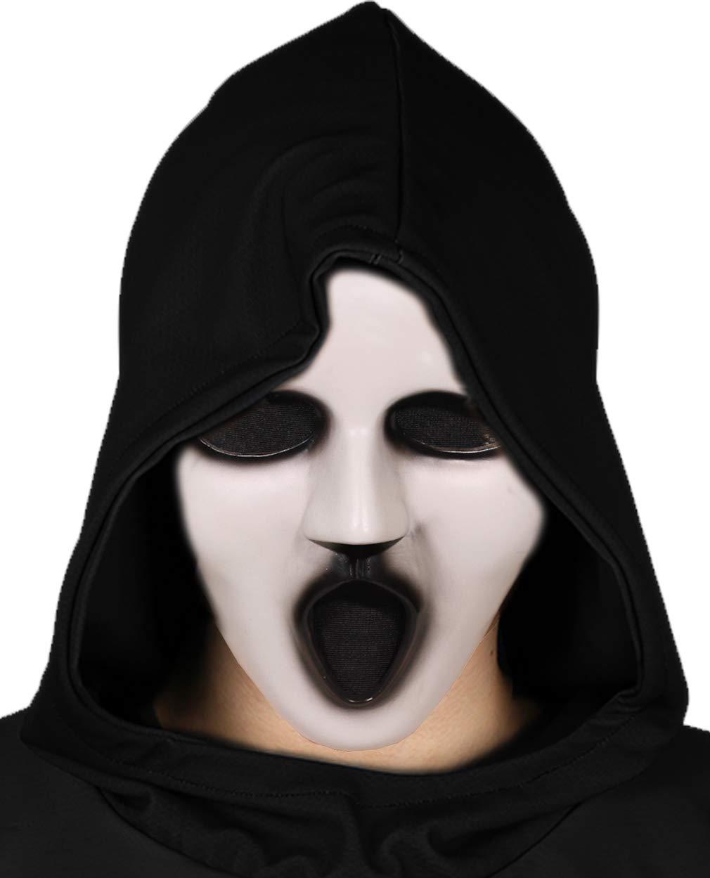Wellgift Halloween Scream Masque Cosplay Costume Fantôme Plein Visage Parodie Casque Brandon Choquant Soutenir Déguisement Accessoires pour Adulte Unisexe