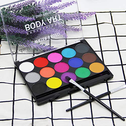 DR.DUDU Face Paint Kit, Washable Face and Body Painting Kit for Kids, Cosplay Party Makeup 15 Colors with 2 Brushes -
