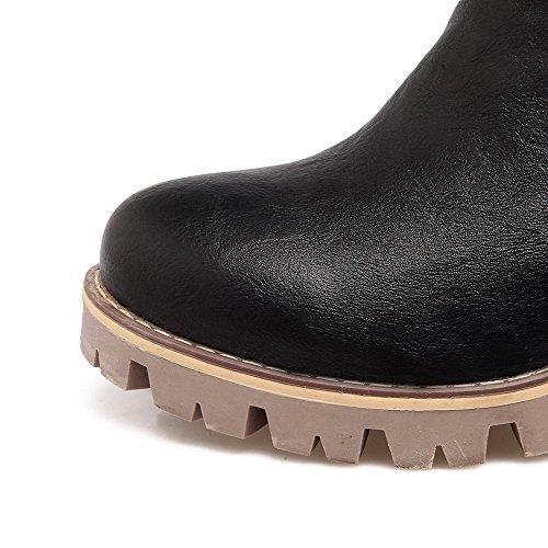 AgooLar Damen Rein Reißverschluss Rund Zehe Stiefel Schwarz