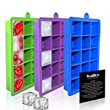 WALFOS Ice Cube Trays 3 Packs, Small Silicone Ice Cube Mold Maker - Easy-Release and Flexible - Food Grade BPA Free Mold Tray