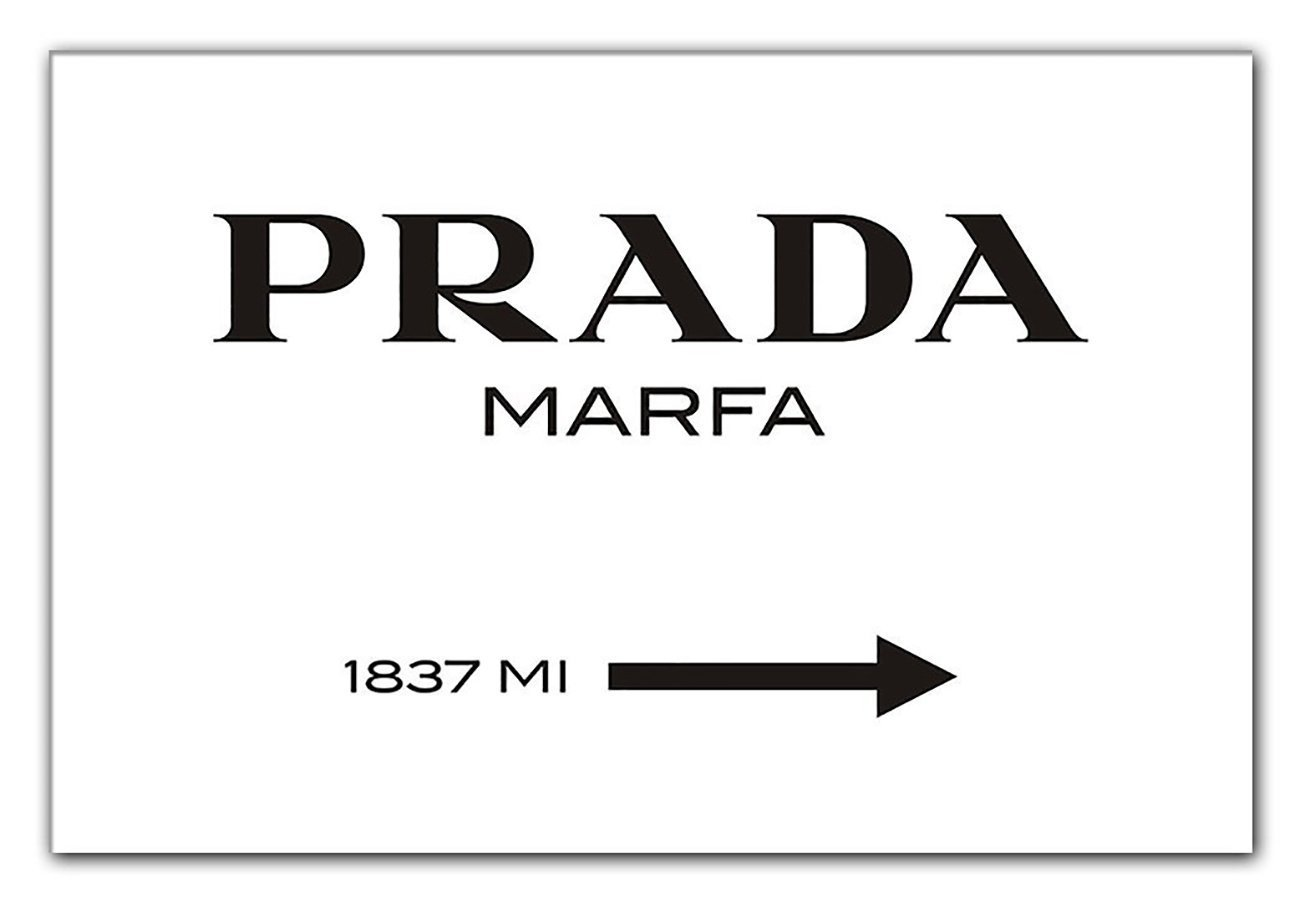 Canvas Art Print with 'Prada Marfa' Text and Signpost Design XXL Various Sizes Available [Artwork Critical of Consumerism] Pre-Framed Ready to Hang Up, 40 x 60 cm ps-art