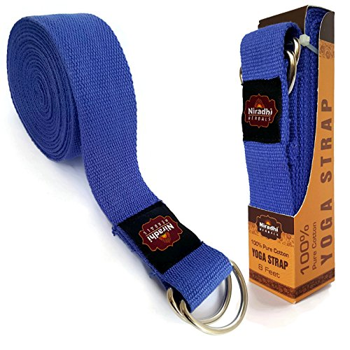 Niradhi Herbals Yoga Strap with D-Ring - 6ft/8ft/10ft - 7 Colors - Premium Quality Soft & Durable Cotton with Niradhi Happiness Protection (Blue, 8 ft)