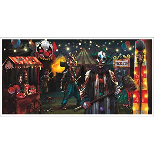 Side show Creepy Carnival Horizontal Banner Halloween Trick or Treat Party Decoration, Plastic, 65
