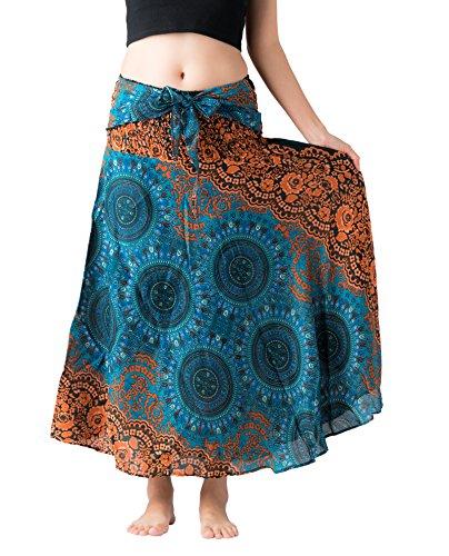 Bangkokpants Women's Long Hippie Bohemian Skirt Gypsy Dress Boho Clothes Flowers One Size Fits (Bohorose Green, One Size)