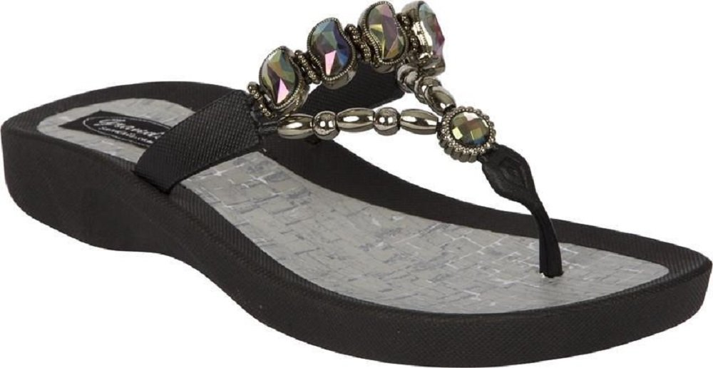Grandco Marble Cork Thong Sandals (9, Black)