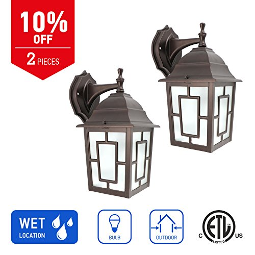 in Home 1-Light Outdoor Wall Mount Lantern Downward Fixture L05 Series Traditional Design Bronze Finish, Frosted Glass Shade (2 Pack), ETL Listed (Outdoor Lantern Bronze Patio)