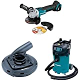 Makita XAG09Z 18V LXT Brushless 4 1/2 Inch 5 Inch Cut Off/Angle Grinder (Tool Only), 195236 5 Surface Grinding Shroud, VC4710 12 Gallon Xtract Vac Wet/Dry Dust Extractor/Vacuum