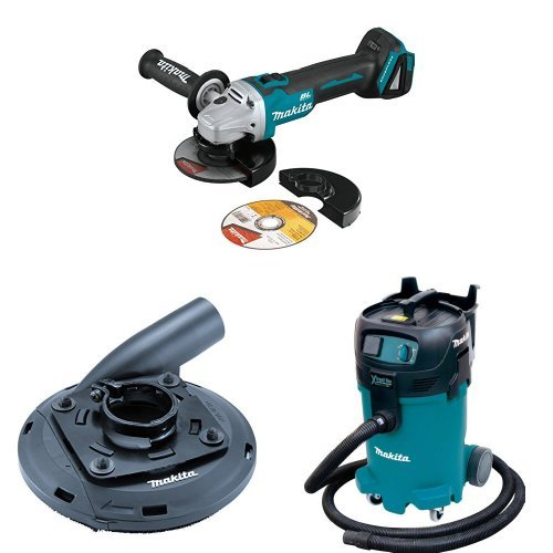 Makita XAG09Z 18V LXT Lithium-Ion Brushless Cordless 4-1/2 inch/5 inch Cut-Off/Angle Grinder with Makita 195236-5 4-1/2-Inch - 5-Inch Dust Shroud  with Makita VC4710 12-Gallon Wet/Dry Vacuum