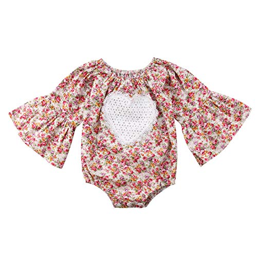 Zoiuytrg Infant Toddler Baby Girl Romper,Kid Long Sleeve Floral Jumpsuit Bodysuit Clothes Outfit,Flare Sleeve ()