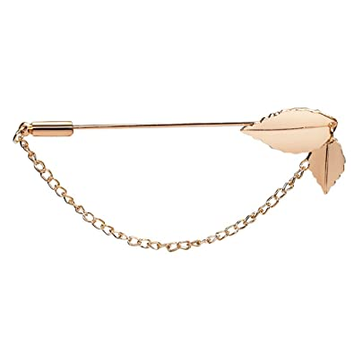 27f983d6c Image Unavailable. Image not available for. Color: MUZHE Rose Gold Leaf  Charm Brooch Pin Collar Pin Hat Scarf Stick Lapel Pin for Suit