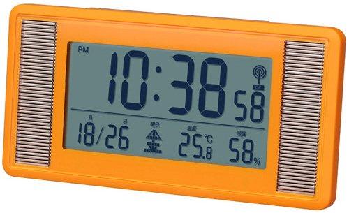 Smartek ( Sumatekku ) solar radio alarm clock digital display large screen display mat orange ML-476-YOR
