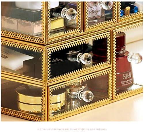 化粧品収納ボックス 家庭用大容量化粧品収納ボックス化粧台スキンケア収納ボックス厚めのガラスプノンモザイクインレイは組み合わせて取り外し可能 GHMOZ (Size : S)