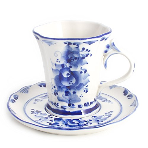 (Katerina Teacup and Saucer. Blue and White Porcelain. Gzhel Cup - 6.8 fl oz (200 ml))
