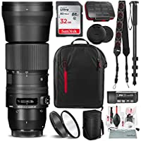 Sigma 150-600mm f/5-6.3 DG OS HSM Contemporary Lens for Canon EF with 32GB Card, Xpix Camera Cleaning Kit, and Deluxe Bundle