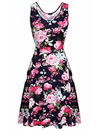 ACEVOG Womens Casual Fit and Flare Floral Sleeveless Party Evening Cocktail Dress