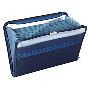 Pendaflex Fabric Poly Expanding File, 13 Pocket, Dark Blue, Each (84087DBL)