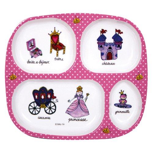 Divided Tray Baby Cie Princess Pink Polka Dot Melamine Melamine Dinnerware