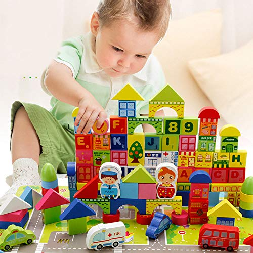 TiTa-Dong City Traffic Wooden Building Blocks Stacking Set | 160Pcs Stacking Game Learning Toy Stacker Jigsaw Puzzles Creative Educational Toys for Kids Baby Toddlers
