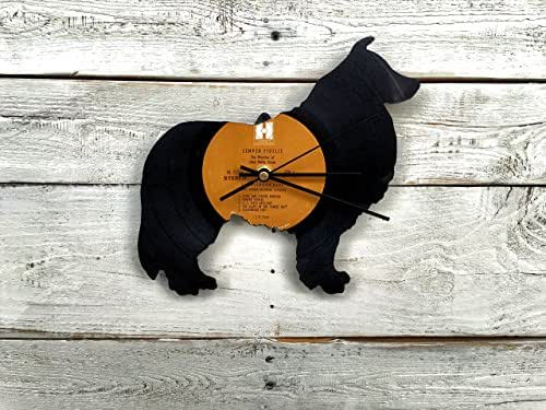 Collie Clock | Vinyl Record • Upcycled Recycled Repurposed • Border Collie • Dog Breeds • Shadow Art • Unique Gifts • Retro Vintage