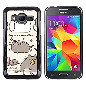Planetar® ( Pussy Cat Gris Sleep Marshmallow Juego ) Samsung Galaxy Core Prime Fundas Cover Cubre Hard Case Cover