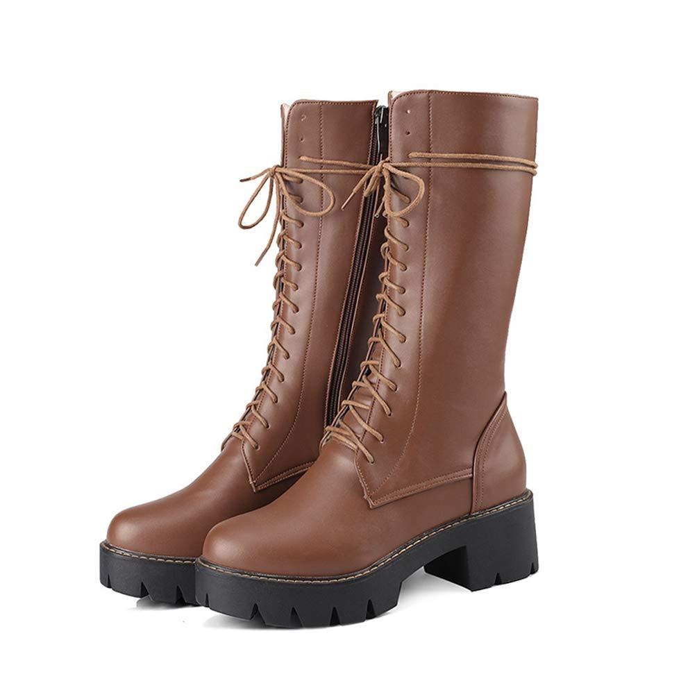 e268497d93fc3 DETAWIN Women Motorcycle Boots Waterproof Thick High Heels Lace Up ...