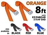 1½'' x 8ft PowerTye Made in USA Heavy-Duty Lashing Strap with Heavy-Duty Buckle, Orange, 2-Pack