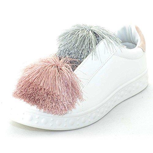 Fondo Glamour Bianco Applicazioni Sneakers Donna Simil Femminili Con Colorate Pon Bassa Liscio Scarpe Pelle SwPOnqRnt