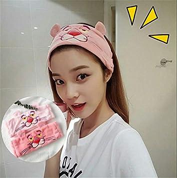 Amazon.com   Korea cute cat cartoon Pink Panther embroidery headband face makeup  headband rabbit ears headband hairpin hair accessories for women girl lady  ... 15ef483f7f7