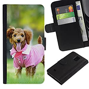 JackGot ( Carino rosa shirt Cane di barboncino ) Samsung Galaxy S5 Mini (Not S5), SM-G800 la tarjeta de Crédito Slots PU Funda de cuero Monedero caso cubierta de piel