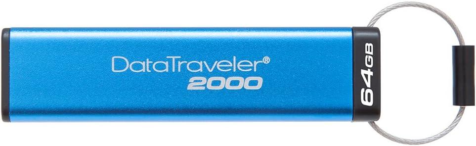 Kingston DataTraveler 2000 DT2000/64GB - Memoria USB 3.0 de 64 GB cifrada con Teclado, Tipo Llave